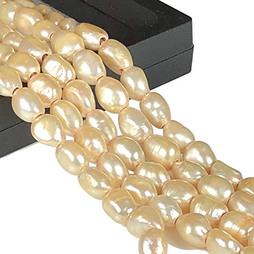 [ABCgems] 2.5mm Large Hole Fresh Water Pearls (Exquisite Luster) 8-12mm Golden Champagne Straight-Drilled Baroque Beads. Approx (Exquisite Pearl)