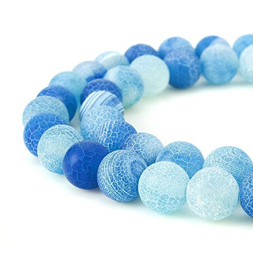 Blue Dragon Dragon Bracelet - 8mm Blue Frosted Crackle Dragon Vein Agate Beads Round Semi Precious Gemstone Loose Beads for Jewelry Making (47-50pcs/strand)