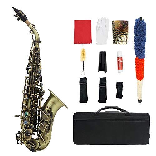 ABMBERTK Saxofón Retro de Concierto de Bronce, saxofón Soprano en Tono SIB, con Estuche, Correa para Saxo, Cepillo para…