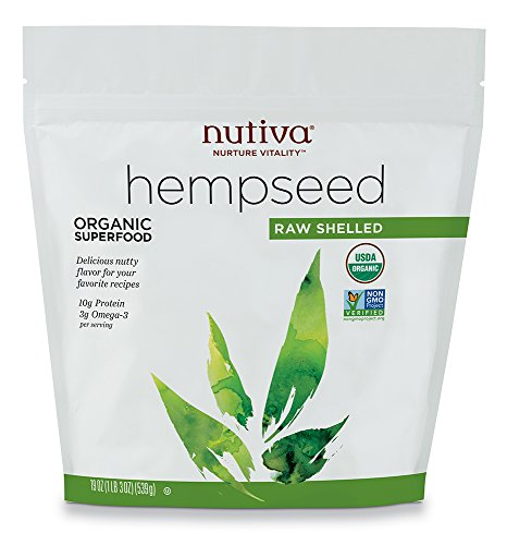 Nutiva Organic, Raw, Shelled Hempseed from non-GMO, Sustainably Farmed Canadian Hemp, 19-ounce