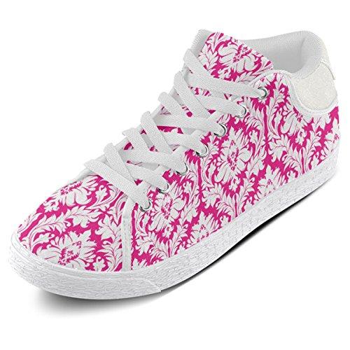Artsadd Rose Et Blanc Damassé Motif Chukka Toile Chaussures Pour Femmes (model003)
