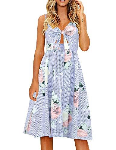 FANCYINN Womens Floral Prints Tie Front Button Down Spaghetti Strap Midi Dress Blue Stripe with Flower S