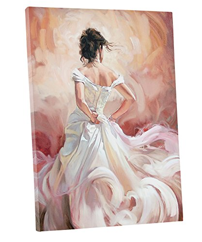 Niwo ART (TM) - White Skirt Dancer - Ballet Dancing Series. Modern Abstract Oil Painting Reproduction. Giclee Canvas Prints Wall Art for Home Decor, Stretched and Framed Ready to Hang