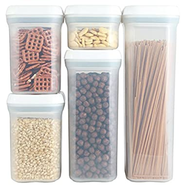 PERSIK PremiumSPIN & LOCK Airtight Sealed Food Storage Containers - Stackable Plastic Canisters Foodsaver and Organization - 5 Piece Set