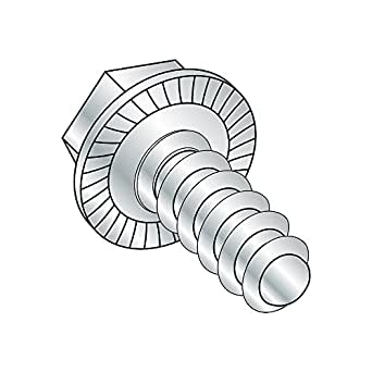 Steel Sheet Metal Screw Type B Pack of 100 Zinc Plated 1-1//4 Length #10-16 Thread Size Hex Drive Hex Washer Head