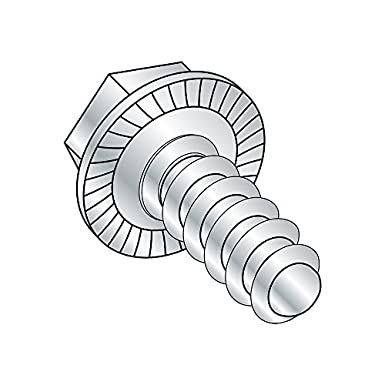 1-3//4 Length Pack of 25 Serrated Hex Washer Head Zinc Plated Finish Slotted Drive Steel Thread Cutting Screw Type F 1//4-20 Thread Size