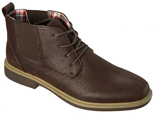 JS AWAKE Mens Lace Up Chukka Boot PU Leather Anson68brown y8FXn7TbQs