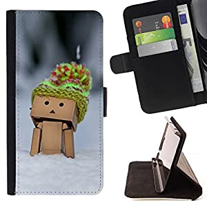 Momo Phone Case / Flip Funda de Cuero Case Cover - Figurita 3D Juguete Madera Nieve Sombrero Selva Fría - Sony Xperia Z5 Compact Z5 Mini (Not for Normal Z5)