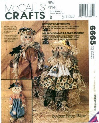 McCall's 6665 Crafts Sewing Pattern Scarecrows Dolls Black Bird Wall -