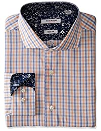 Isaac Mizrahi mens Slim Fit Check Cut Away Collar Dress Shirt