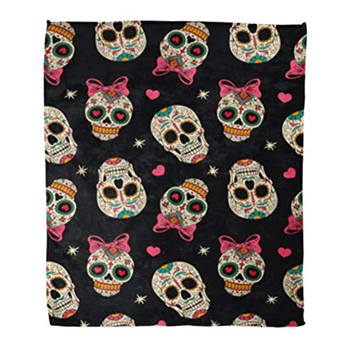 Golee Throw Blanket Yellow Sugar Mexican Skulls Pattern Day Dead Carnival Halloween Girl 60x80 Inches Warm Fuzzy Soft Blanket for Bed -