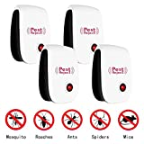 PESKI Pest Control Ultrasonic Repeller [4 Pack] - Electronic Repellent Plug In for Mosquitoes, Insects, Spiders, Mices, Roaches, Bugs, Flies, Fleas & Ants - Black
