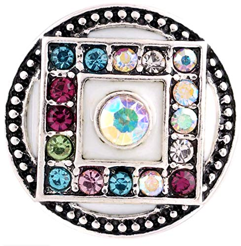 Rockin Angels White Enamel Multi Colored Rhinestone Square 20mm Snap Charm for Ginger Snaps