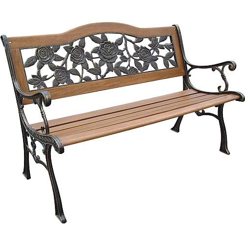 (DC America SLP2660BRSP, Rose Resin Back Park Bench, Cast Iron legs, Rust-free Resin Back, and Hardwood Slats, Rust Resistant Bronze Finish)