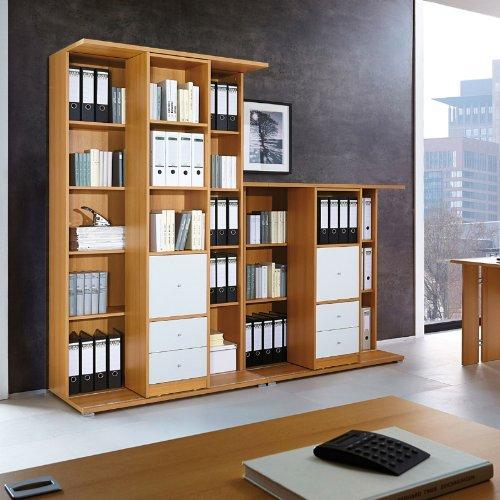 Büromöbel Schieberegal »CARG« Buche Nachbildung - weiß, 228cm
