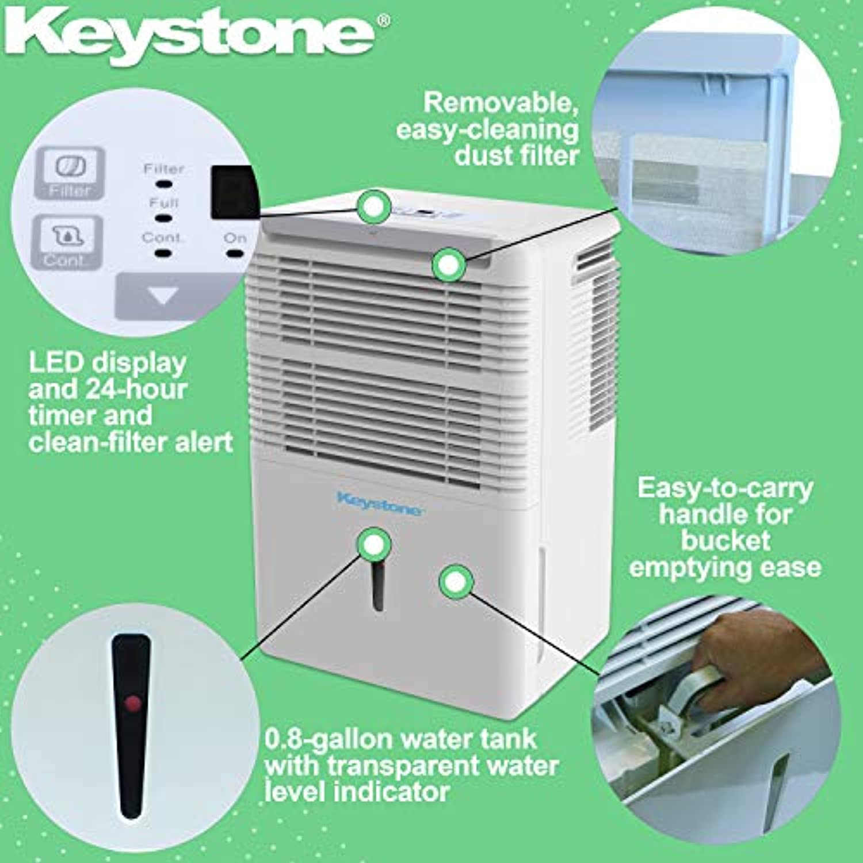 Keystone 35 Pint Dehumidifier with Electronic Controls, KSTAD354D, White
