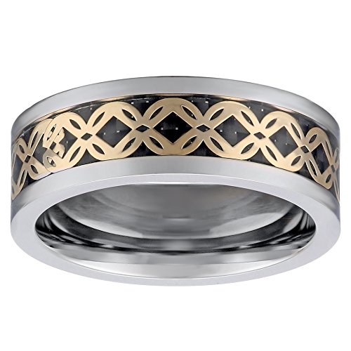 Men's Tri-Color Titanium Carbon Fiber and Clover Pattern Inlay Ring, Size ()