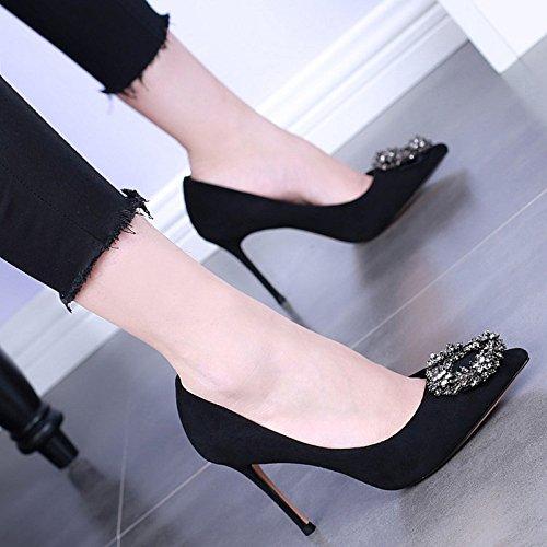 HBDLH Darauf Einzelne Schuhe Frühling Flachen Mund Wildleder Dünne Sohle Damenschuhe Damenschuhe Sohle Sexy Diamond Street Pat Beruf 10Cm Hochhackigen Schuhe. b99b8d