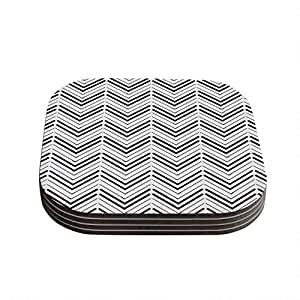 "Kess InHouse CarolLynn Tice ""Distinct"" Black White Coasters, 4 by 4-Inch, Black/White, Set of 4"