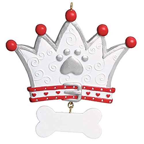 - Personalized Dog Crown Christmas Tree Ornament 2019 - White Silver King Doggy Paw Red Heart Collar Dangle Bone Best Puppy Neutral Faithful Furever Fluffy Holiday Aww - Free Customization