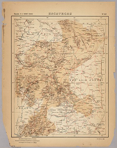 """Map Poster - No. 32: Zacatecas 16"""" x 20"""" for sale  Delivered anywhere in USA"""