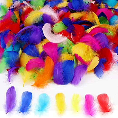 450 Pcs Colorful Feathers for Crafts, AKWOX Natural Goose Decor Feather (2.36