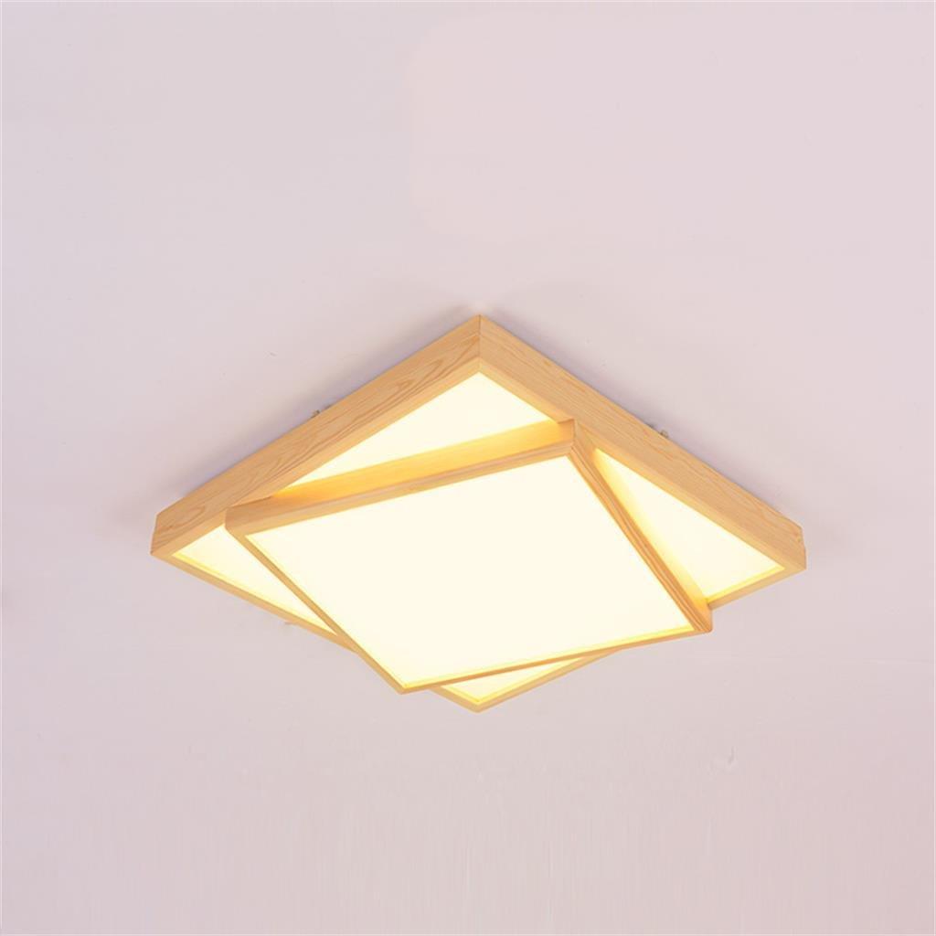 Uncle Sam LI- Modernes einfaches hölzernes LED-Decken-Lampen-quadratisches kreatives Pers5onlichkeit-Schlafzimmer-Wohnzimmer-Beleuchtung, LED-warmes Weiß, 48cm   63cm   80cm (Farbe   48cm)
