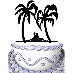 Meijiafei Wedding Cake Topper - Bride and Groom Back to Back under the Palm Tree Silhouette Cake Topper