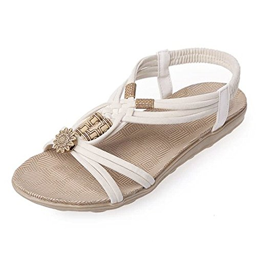 Sunyastor Women Sandals Summer Peep-Toe Roman Bohemia Beach Flip Flops Sandals Shoes Flip-Flop Sweet Beaded Sandals Beige by Sunyastor Shoes (Image #5)