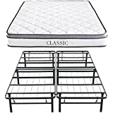 Classic Brands Mercer Pillow-Top Cool Gel Memory Foam and Innerspring Hybrid 12-Inch Mattress with Hercules Heavy-Duty 14-Inch Platform Metal Bed Frame, Twin XL