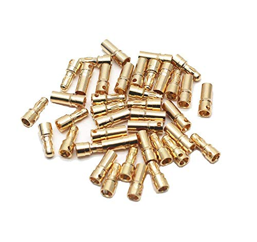 Karcy Banana Plug Bullet 3.5mm/0.14 Inch Gold Banana Plug Connnector Female & Male 20pair a Pack for Motor ()