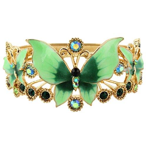 Ever Faith - Email papillon Fleur Bracelet Cristal Autrichien Plaqué Or Vert N03975-2