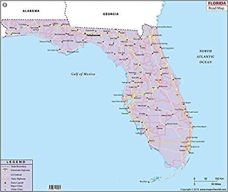Florida Highway Map.Amazon Com Florida Highway Map 36 W X 30 H Office Products