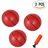"""Yojoloin 3 Pack Toddlers/Kids Replacement Rubber Mini Toy Plastic Basketballs 6.29"""" Basketballs With A Pump (3PCS)"""