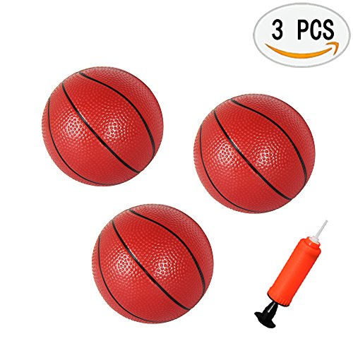 Yojoloin 3 Pack Toddlers/Kids Replacement Rubber Mini Toy Plastic Basketballs 6.29