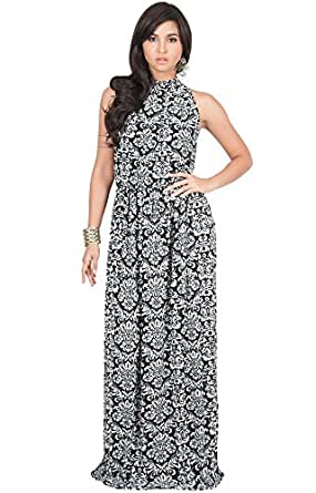 KOH KOH Womens Long Sexy Sleeveless Summer Formal Flowy