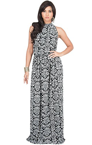 KOH KOH Womens Long Sexy Sleeveless Halter Neck Summer Spring Formal Flowy Print Casual Formal Evening Wedding Guest Gown Gowns Maxi Dress Dresses, Black and White M 8-10