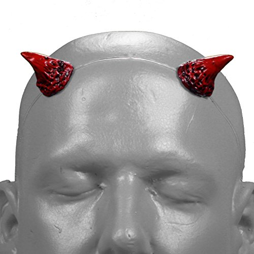 [Houndstooth v2 Red & Black Devil / Demon Horns w/ adjustable clear headband] (Satyr Halloween Costumes)
