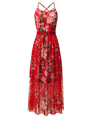 Bohemian Queen Empire Waist Spaghetti Strap Floral Maxi Dress With Sexy Strappy Back KS003_RED S