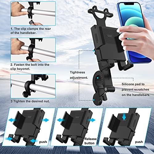 Bike Phone Mount,Motorcycle Phone Mount, Bike Phone Mount Holder for 4.7-6.7 inch Mobile Phone, Anti-Shake & Anti-Scratch ,360 Degree Adjustment ,Black.