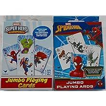 Marvel Spider-Man &Marvel Super Hero Adventures Jumbo Playing Cards - 2 Set Bundle with Game Instructions