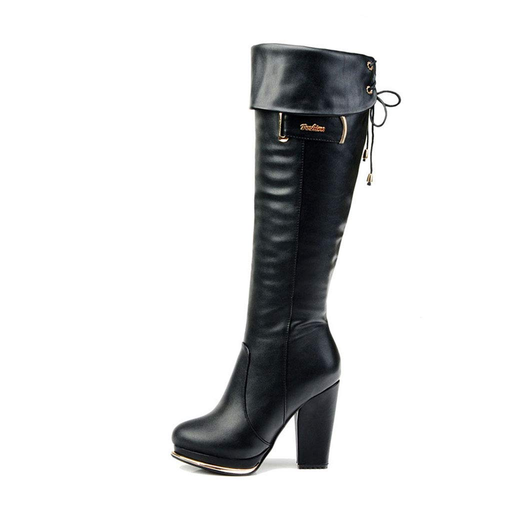 Black Women's Boots Fall Winter High Heel Long Boots Keep Warm Knee Thick Heel Ladies shoes Zipper High Boots Fashion Boots (color   Brown, Size   39)