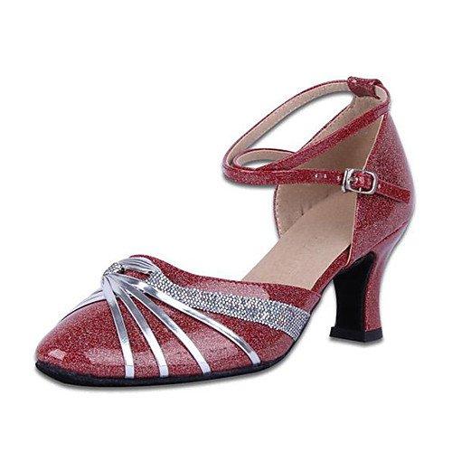 Sneakers T Argento da Tacco Scarpe Jazz pelle Performance Indoor T grosso Tango Swing moderne donna per Sandali Practice Salsa Q latini ballo argentati in Swq0SWcgr