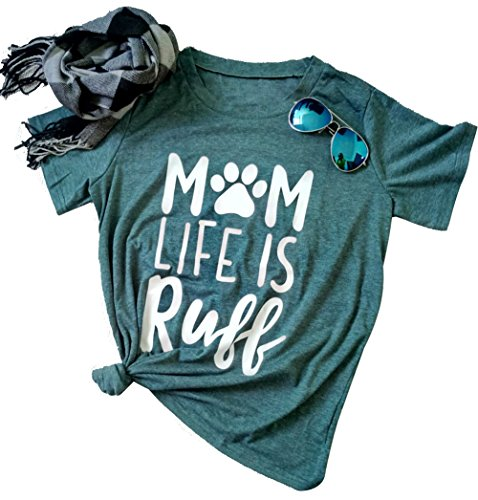 DUTUT Mom Life Is Ruff T-Shirt Women's Funny Dog Paw O Neck Short Sleeve Tops Blouse Size US M/Tag L (As Picture)