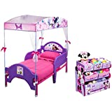 Bundle of 2 includes: Delta Minnie's Bow-Tique Canopy Toddler Bed, Lavender and Disney Multi-Bin Toy Organizer, Minnie Mouse
