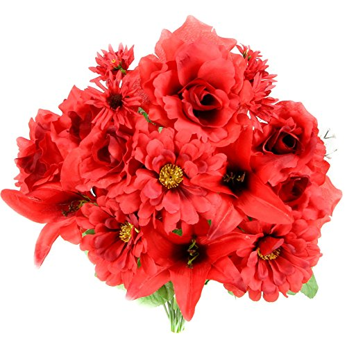 Admired By Nature 14 Stems Artificial Full Blooming Rose, Lily, Gerbera Daisy Greenery Mixed Bush for Home Office, Wedding, Restaurant Decoration Arrangement, Red, 2 (Gerbera Daisy Bush)