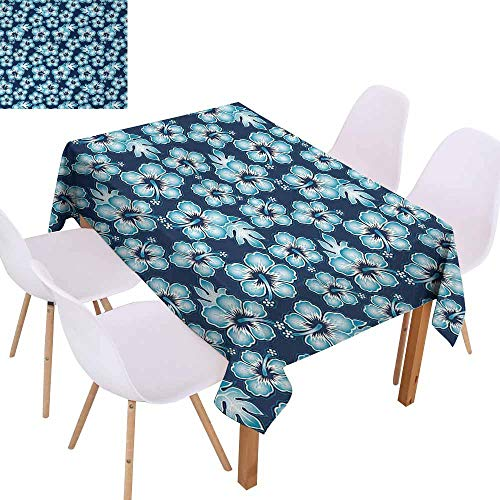 UHOO2018 Navy,Picnic Tablecloth,Hibiscus Hawaiian Tropical Island Flowers Petals and Buds Leaves Art Print,Waterproof and Spillproof,Dark Blue and Sky Blue,55