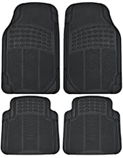 BDK MT654PLUS Black Heavy Duty 4pc Front & Rear Rubber Floor Mats for Car SUV Van & Truck-All Weather Protection Universal Fit
