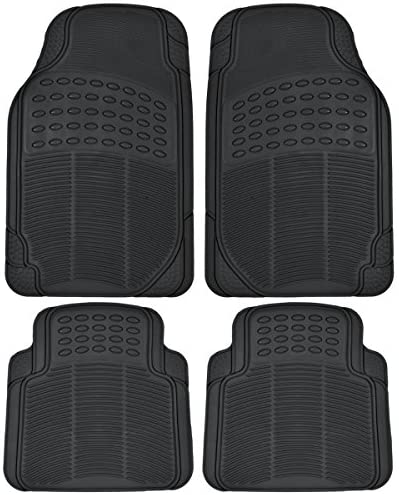 All Weather Tough Rubber Car Floor Mats Liners-Heavy Duty Trimmable Semi Custom Fit for Car Truck Van SUV (Black)