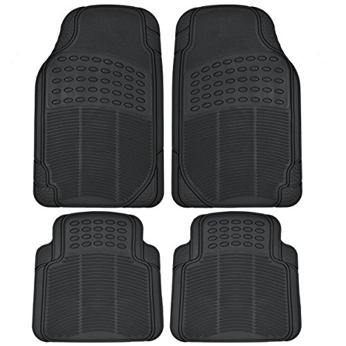 (BDK MT654PLUS Heavy Duty 4pc Front & Rear Rubber Floor Mats for Car SUV Van & Truck - All Weather Protection Universal Fit (Black))